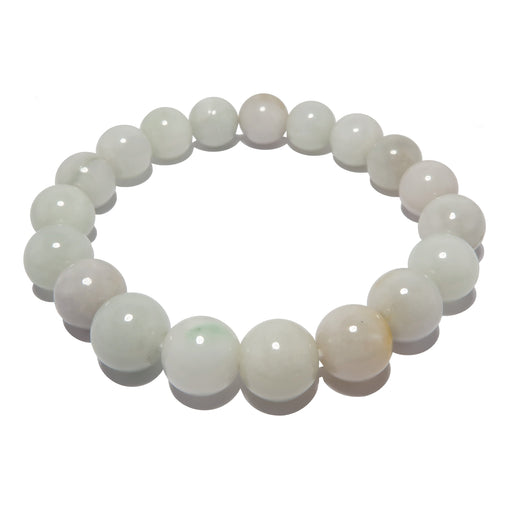 Jade White Bracelet 9mm Light Green Round Bead Genuine Gemstone Stretch
