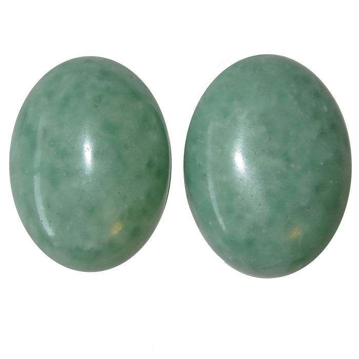"Jade Cabochon 1.5"" Premium Pair of Afghanistan Crystals Green Oval Healing Stones P02"