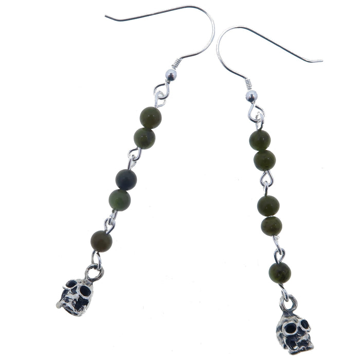 "Jade Green Earrings 2.4"" Skull Genuine Nephrite Gemstone Sterling Silver Dangle"