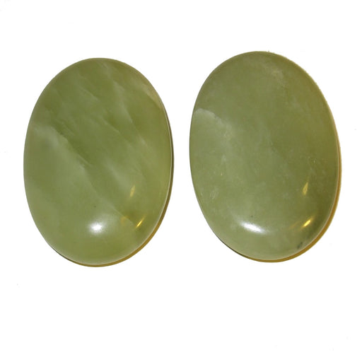 "Jade Polished Stone 2.3"" Collectible Pair of Green Crystal Palm Stones Luck Fortune Meditation C02a"