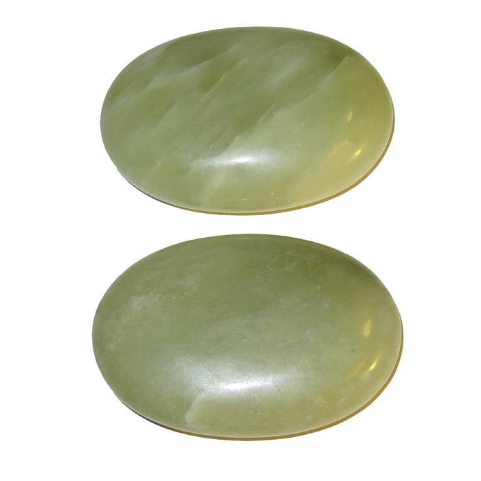 Jade Polished Stone Pair of Green Crystal Palm Stones Luck Fortune
