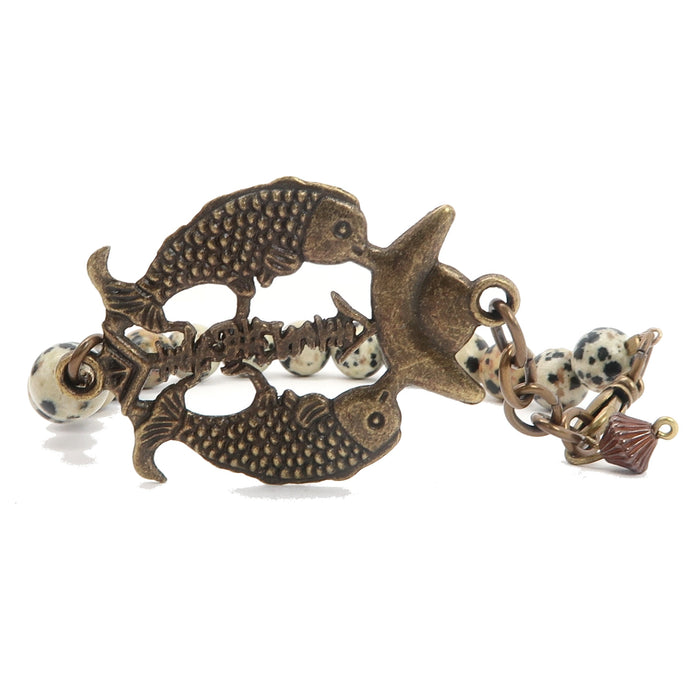 genuine dalmatian stones and double fish charm clasp bracelet beaded with spotted gemstones and antiqued animal charm at satin crystals.
