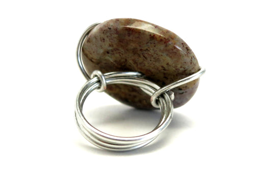 Jasper Fancy Ring 5.5 Specialty One-of-Kind Red Purple Stone Donut Silver Wire Wrapped S02