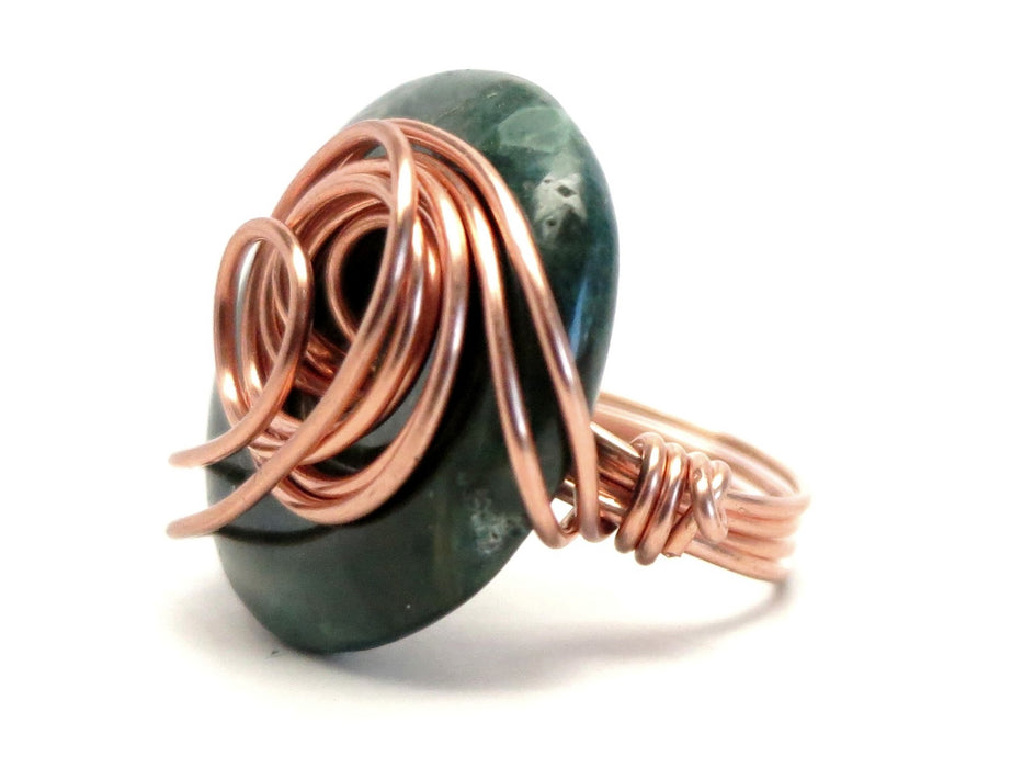 Jasper Green Ring 6.0 Specialty One-of-Kind Copper Wire Wrapped Donut Grounding Stone S01