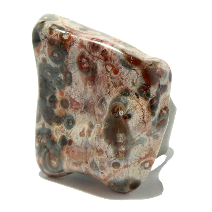 patterned gray, white, red, yellow leopard jasper stone on antique bronze ring