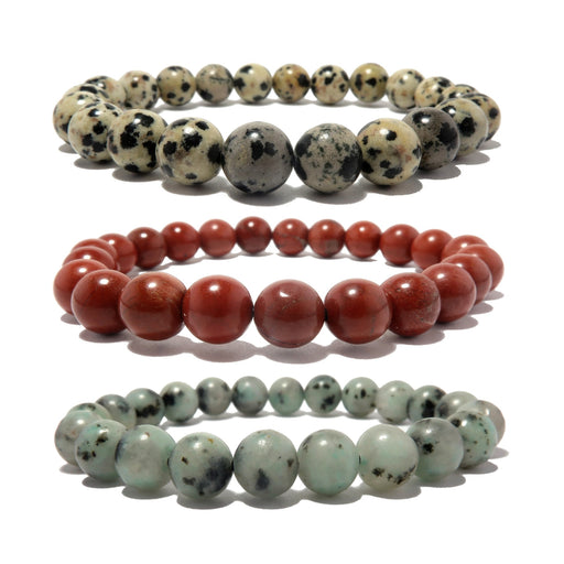 set of 3 jasper stretch bracelets including spotted dalmatian, red and green sesame. beaded round gemstones trio handmade at satin crystals