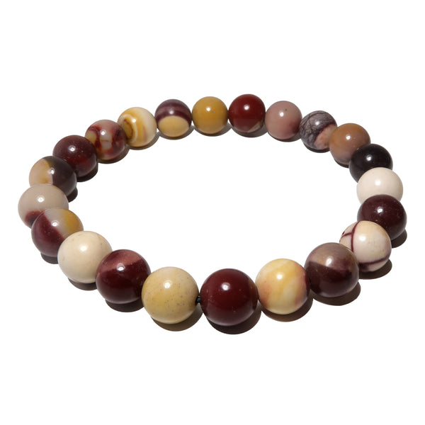 Jasper Mookaite Bracelet 7mm Boutique Purple Cream Red Gemstone Round Stretch B01