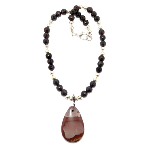 Jasper Necklace Designer Mookaite Dark Garnet Chunky Beaded Stones