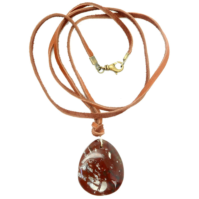 Red Jasper Necklace Living off the Land Deerskin Leather Cord