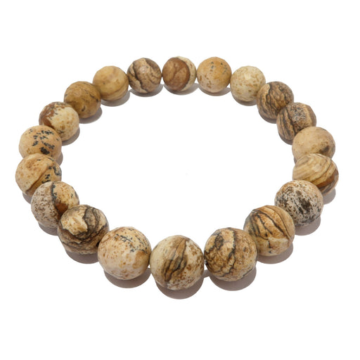 genuine patterned brown landscape picture jasper stretch bracelet beaded with natural faceted gemstones, handmade at satin crystals jewelry.