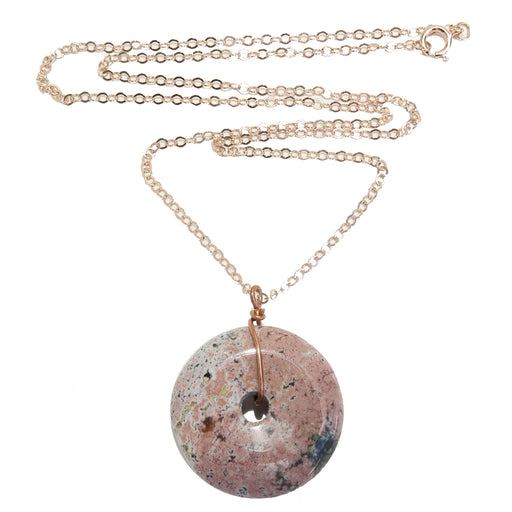 pink spotted picture jasper donut amulet stone on 14 karat rose gold necklace chain