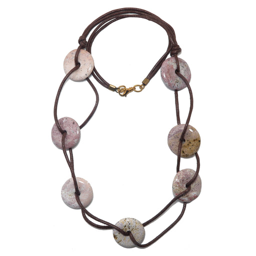 "Jasper Picture Necklace 25"" Specialty Pink White Unique Stone Donut Brown Cotton One-of-Kind S01"