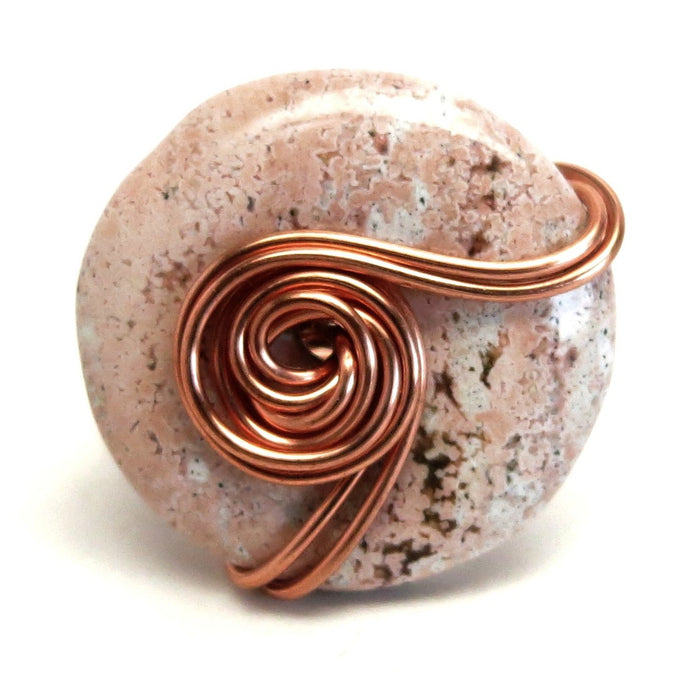 Jasper Pink Ring Spotted Stone Copper Wire Wrapped Love Statement Size 6