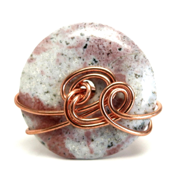 Jasper Pink Ring Spotted White Stone Copper Wire Wrapped Size 5.75