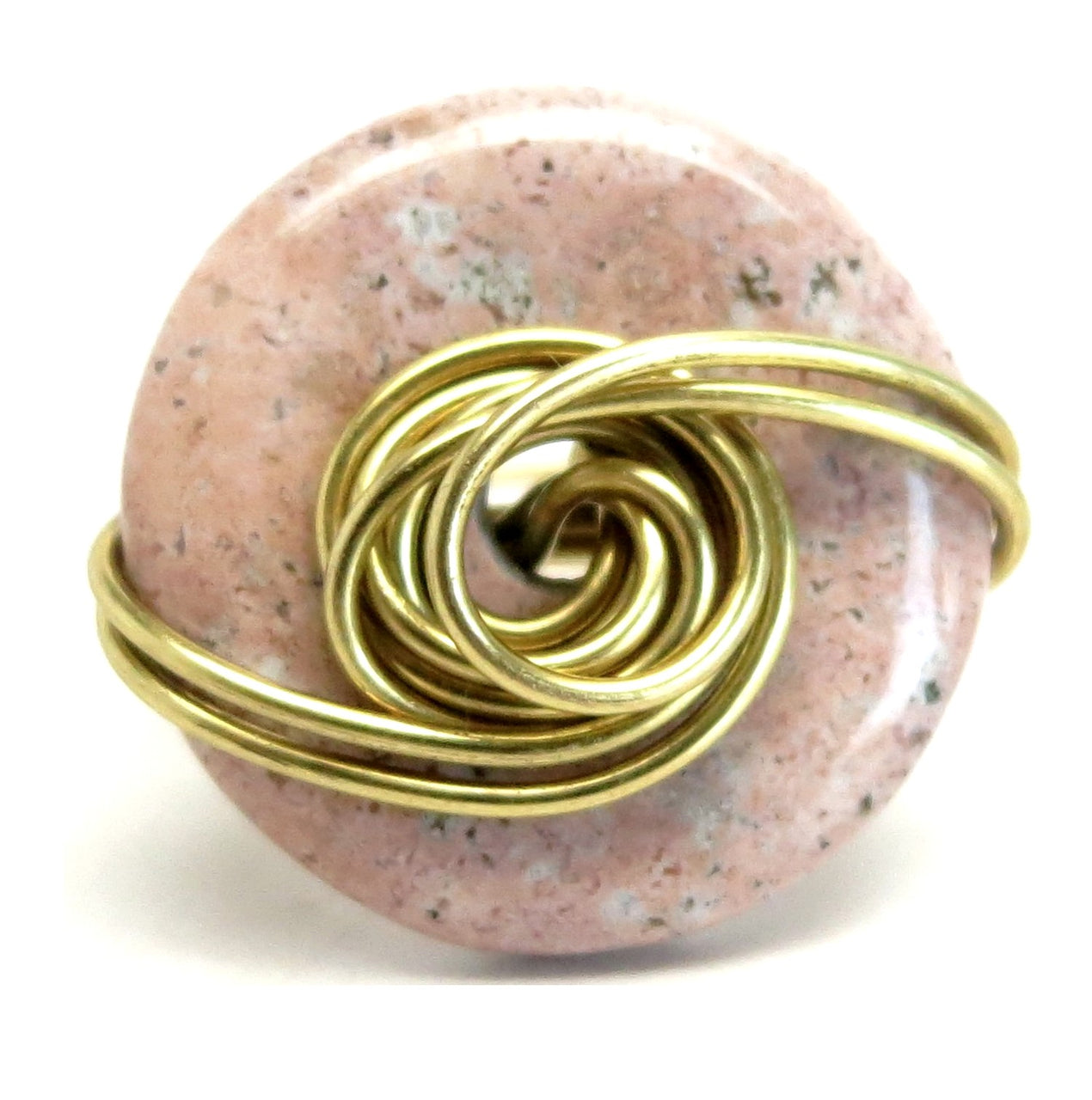 Jasper Pink Ring 8.75 Specialty One-of-Kind Spotted Stone Gold Wire Wrapped Statement S03