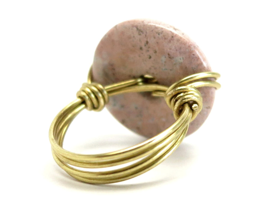 Jasper Pink Ring Spotted Stone Gold Wire Wrapped Statement Size 8.75