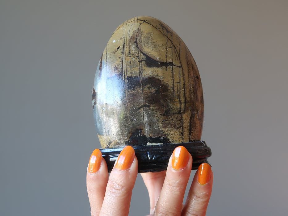 hand holding dendritic jasper stone on wood display stand