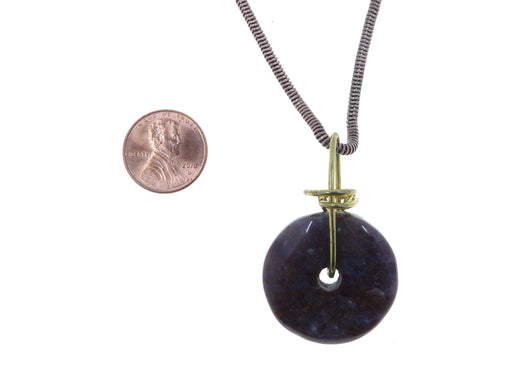 "Jasper Purple Necklace 17"" Specialty One-of-Kind Dark Donut Stone Gold Wire Wrapped S01"