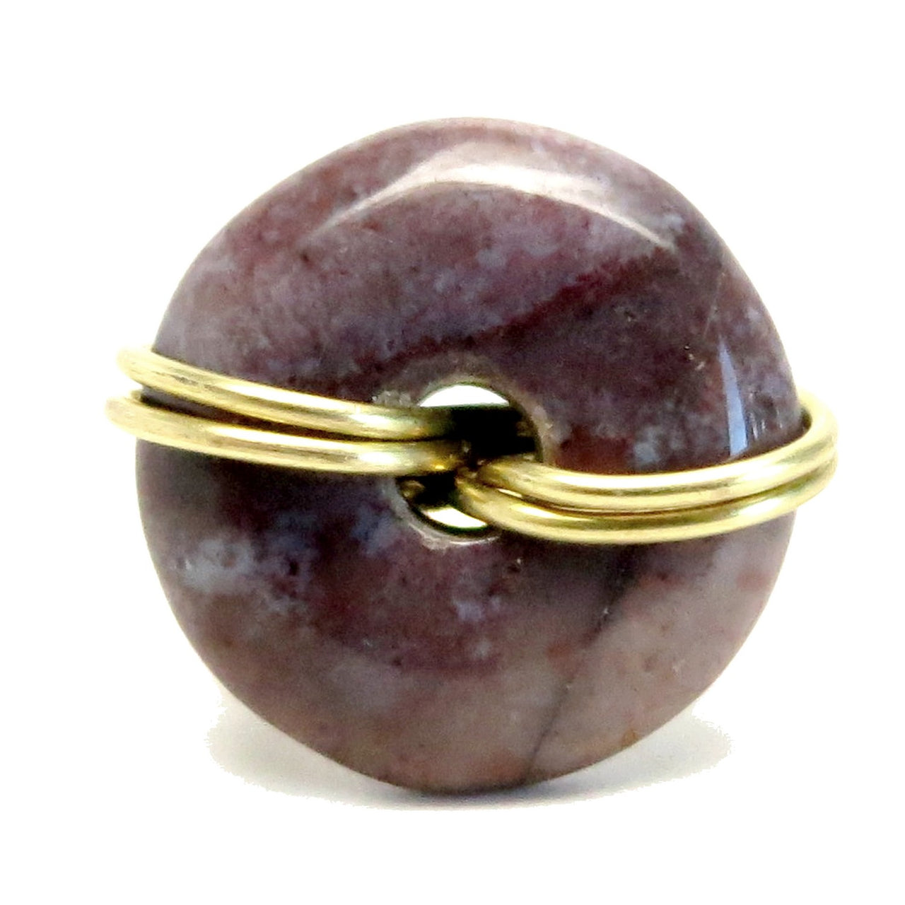 Jasper Purple Ring 4.0 Specialty One-of-Kind Donut Gold Wire Wrapped Circle Stone S01