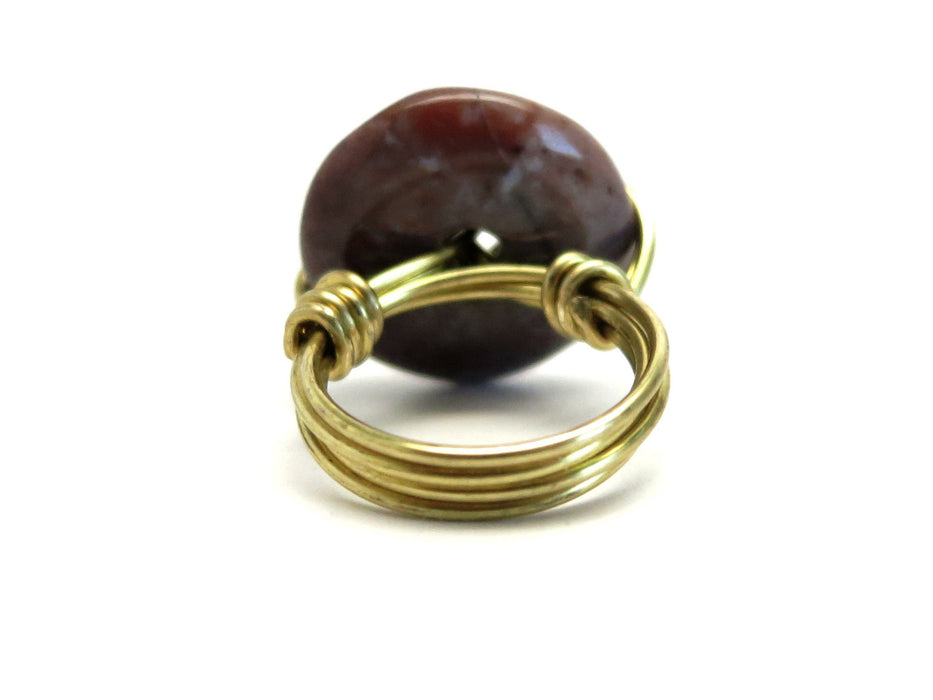 Jasper Purple Ring Donut Gold Wire Wrapped Circle Stone Size 4