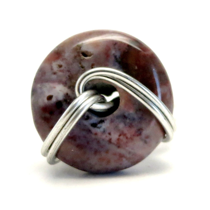 Jasper Purple Ring 4.5 Specialty One-of-Kind Donut Silver Wire Wrapped Circle Stone S02