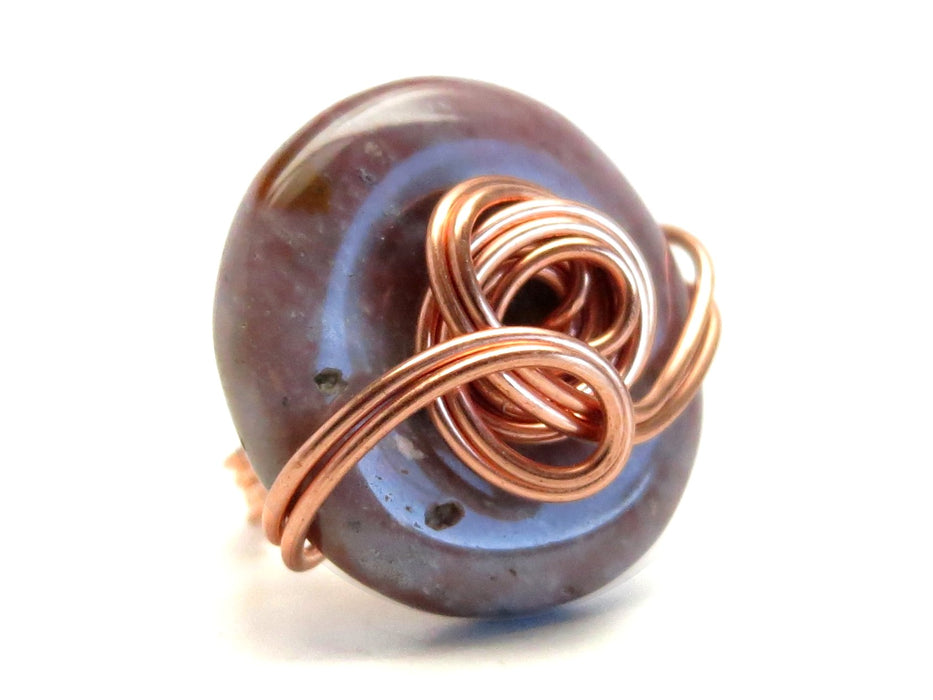 Jasper Purple Ring 5.75 Specialty One-of-Kind Heather Donut Stone Copper Wire Wrapped Circle S03