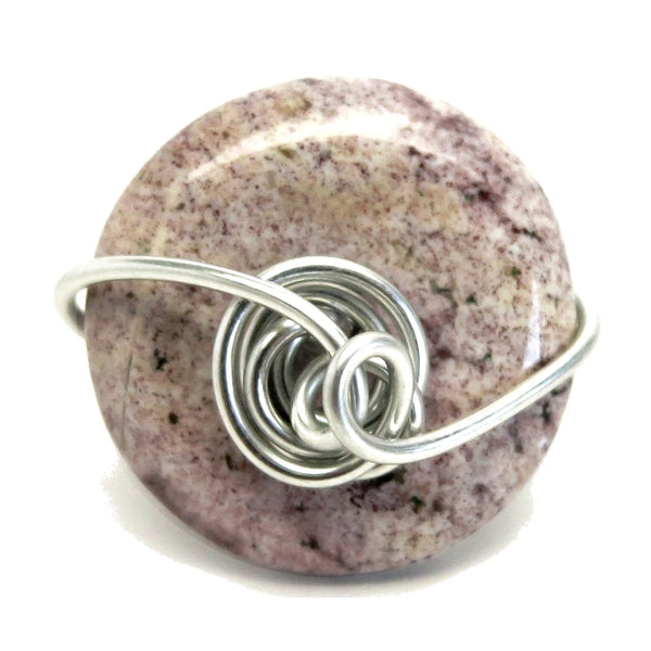 Jasper Purple Ring 5.0 Specialty One-of-Kind Spotted Donut Stone Silver Wire Wrapped Circle Handmade S04