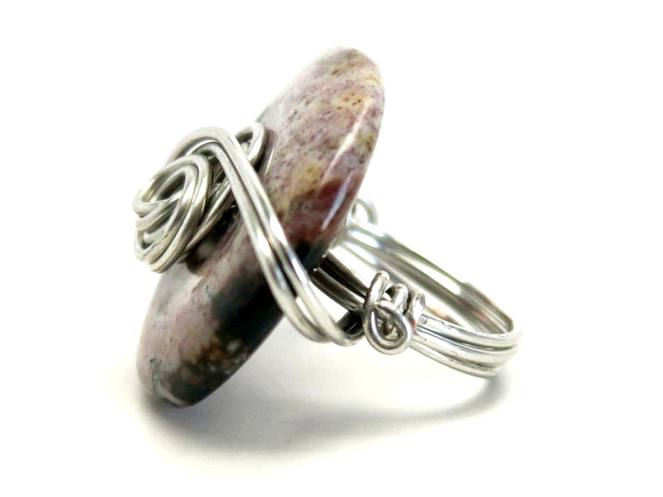 Jasper Purple Ring Spotted Green Donut Stone Silver Wire