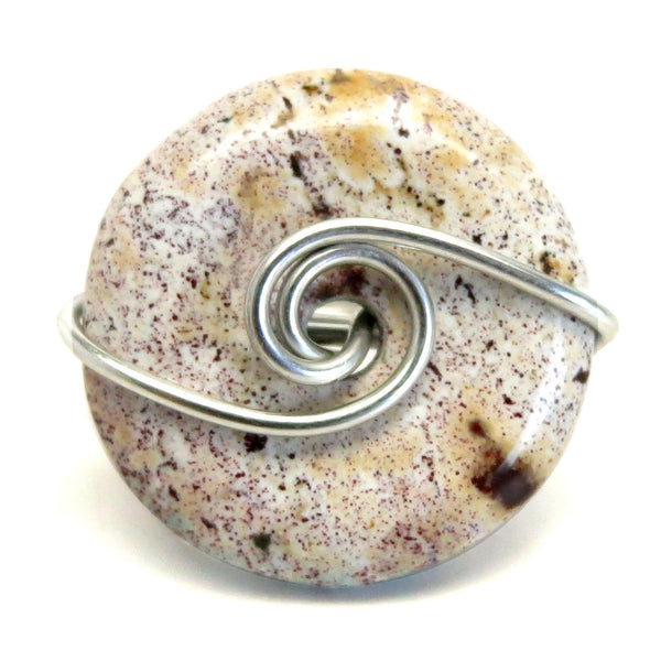 Jasper Purple Ring 4.0 Specialty One-of-Kind Spotted White Donut Stone Silver Wire Wrapped S07