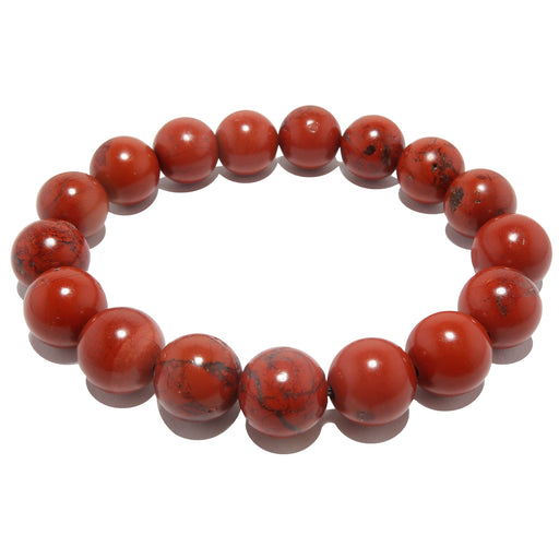 red jasper round beaded stretch bracelet