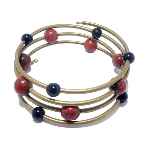 genuine red jasper and black obsidian stones beaded with antiqued gold plated brass beads on 4-coils of memory wire bracelet.