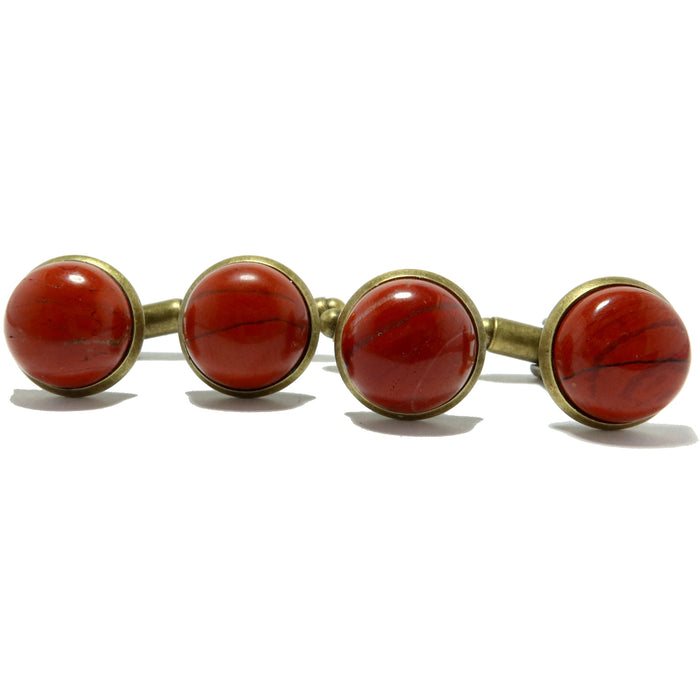 Jasper Cufflinks Antique Bronze 12mm Natural Red Round Stone