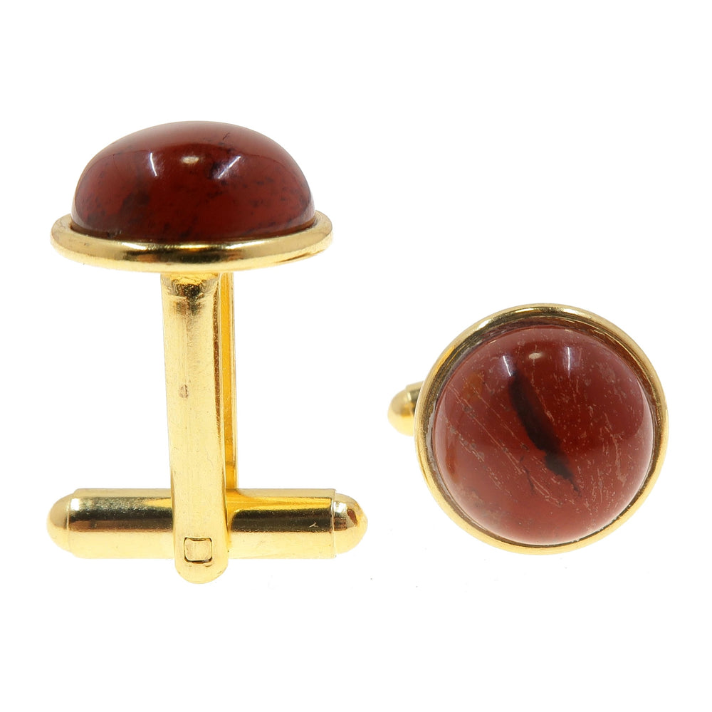 Jasper Cufflinks Gold 12mm Natural Red Round Stone