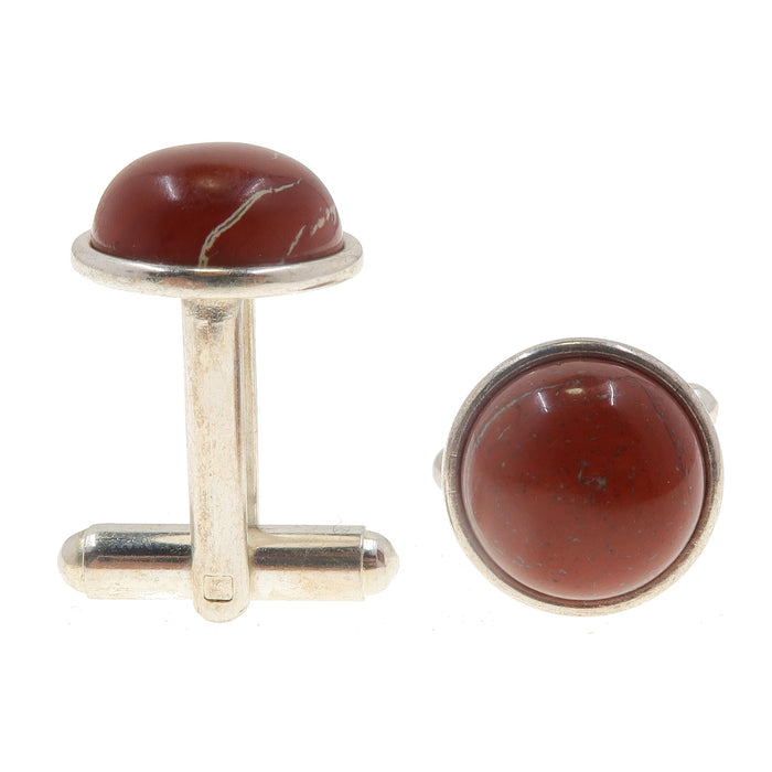 red jasper silver cufflinks for sale