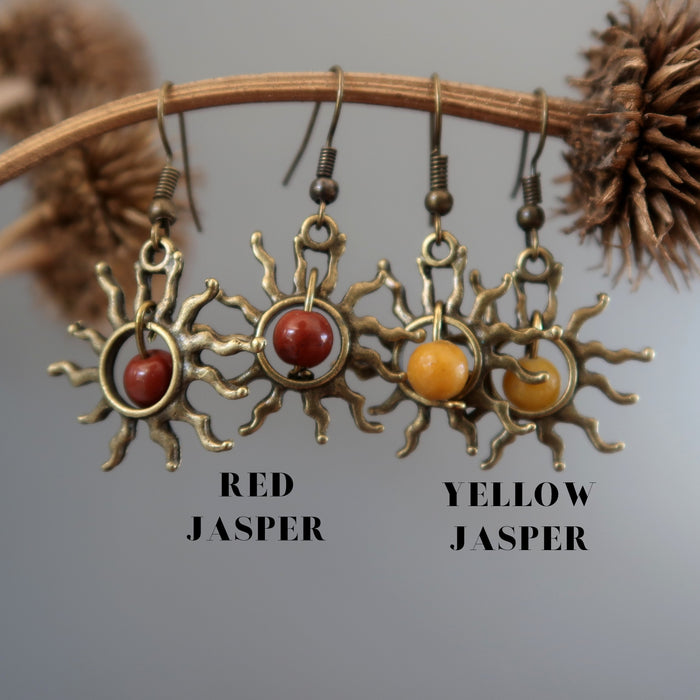 Jasper Fiery Sun Earrings Red Flaming Burning Passion Gemstones