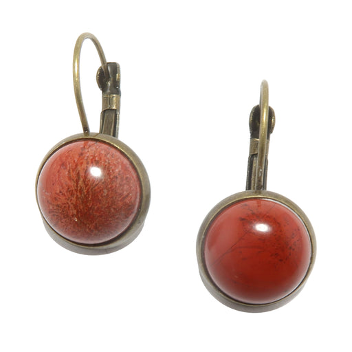 red jasper in antique bronze leverback earrings