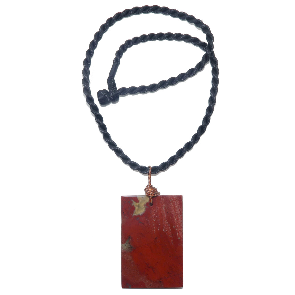 "Jasper Red Necklace 20"" Copper Wire Large Rectangle Statement Stone"