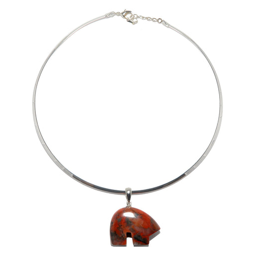 Jasper Red Bear Necklace Brecciated Stone Pendant Silver Choker Neck Wire