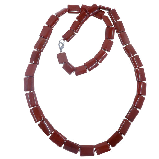 "Jasper Red Necklace 32"" One-of-Kind Rectangle Beaded Stone Smooth Knotted"