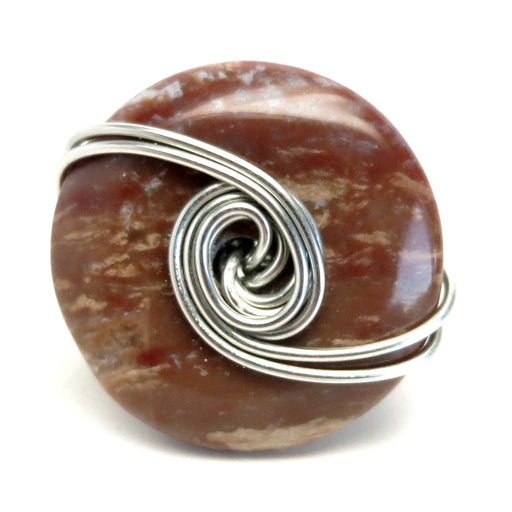 Jasper Red Ring 6.25 Specialty One-of-Kind Silver Wire Wrapped Donut Big Stone S02