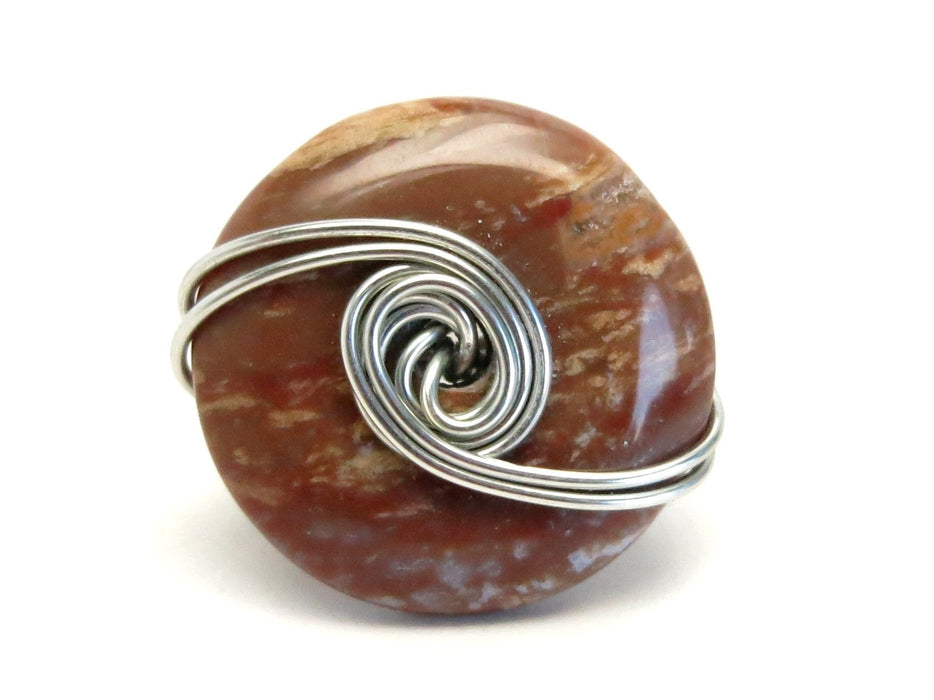 Jasper Red Ring Silver Wire Wrapped Donut Big Earthy Stone