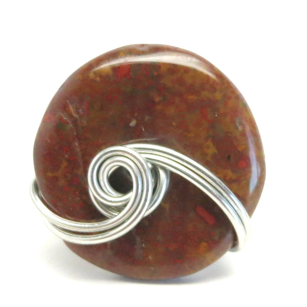 Jasper Red Ring 4.25 Specialty One-of-Kind Silver Wire Wrapped Donut Brecciated Stone S04
