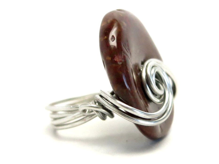 Jasper Red Ring Silver Wire Wrapped Donut Brecciated Stone Size 4.25