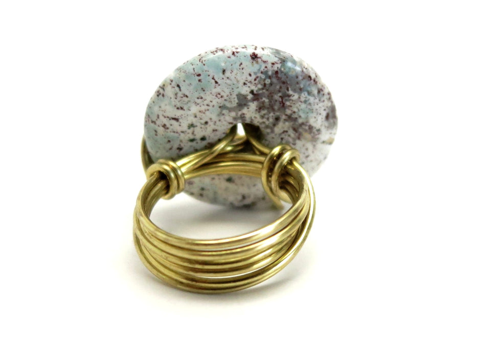 Jasper Purple Ring 5.0 Specialty One-of-Kind Spotted White Donut Stone Gold Wire Wrapped S08