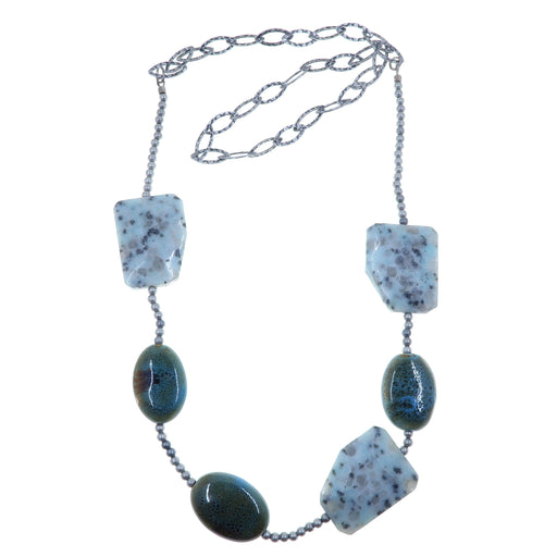sesame jasper polygon, blue oval ceramic, round antique silver beads on hammered chain necklace