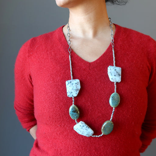 woman wearing designer sesame jasper necklace