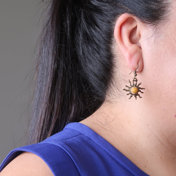 valerie of satin crystals wearing yellow jasper sun earrings