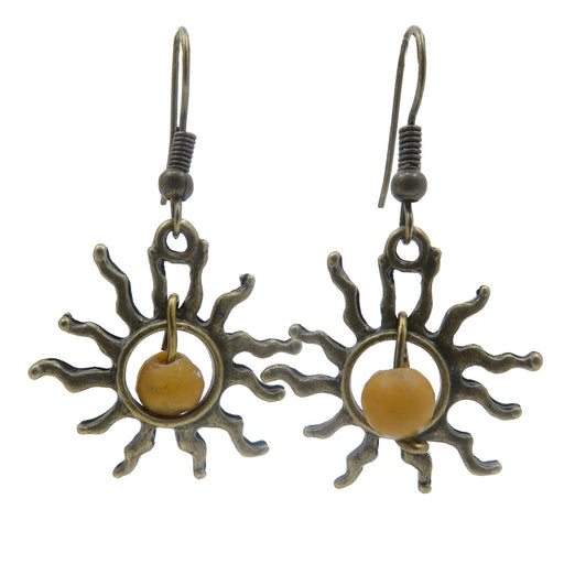 "Jasper Blazing Sun Earrings 1.6"" Yellow Gemstone Antiqued Brass Dangle Travel Jewelry B01"