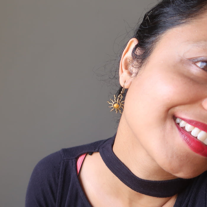 sheila of satin crystals wearing yellow jasper sun earrings