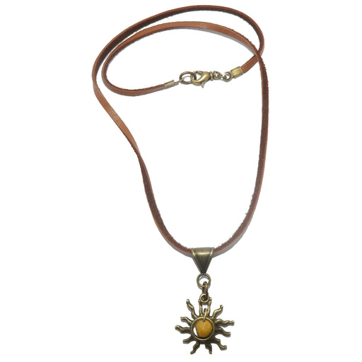 yellow jasper sun necklace